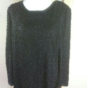 Papell Boutique evening black beaded top XL